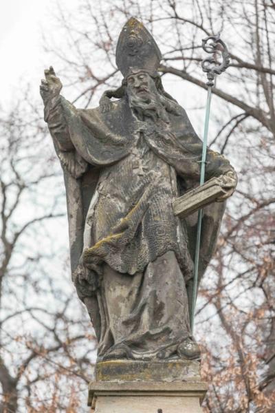 Statue of St. Adalbert detail – before restoration, Prague-Kbely