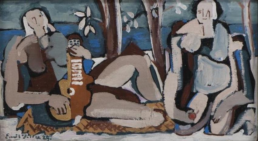 Emil Filla, Dvě ženy, 1929, olej, dřevo, 23×40,8 cm