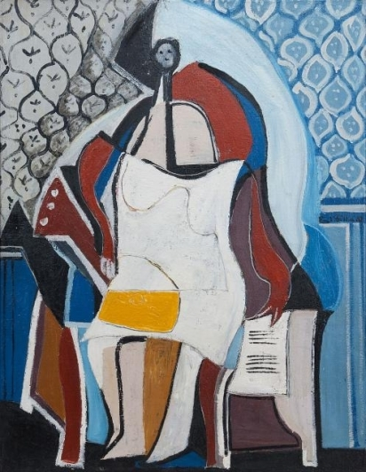 Emil Filla, Žena s mandolínou (Žena sedící v křesle), 1932, olej, email, drť, plátno, 115,5×89,5 cm