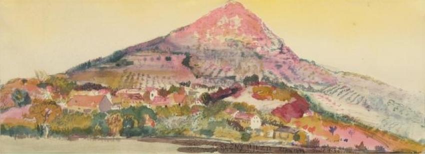 Emil Filla, Lovoš – Režný Újezd, 1949, lavírované barevné tuše, papír, 45×92,5 cm