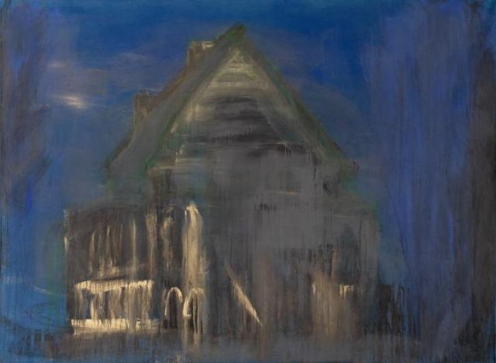 Jakub Špaňhel, Krematorium Pardubice, 2003, akryl, plátno, 225×305 cm