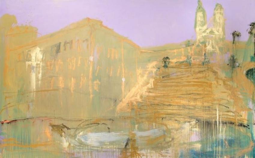 Jakub Špaňhel, Španělské schody, 2011, akryl, plátno, 280×450 cm