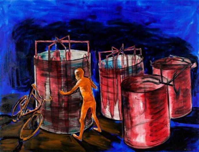 Lubomír Typlt, Postava u turbíny, 2012, olej plátno, 200×260 cm
