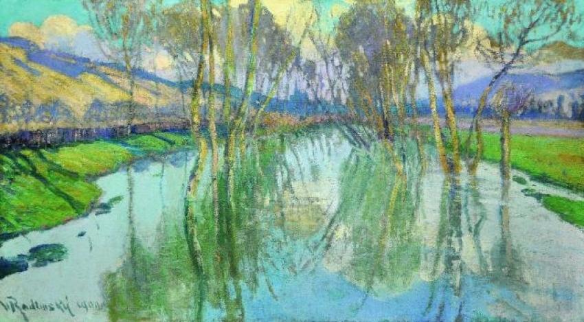 Václav Radimský, Odrazy stromů na vodní hladině, 1900