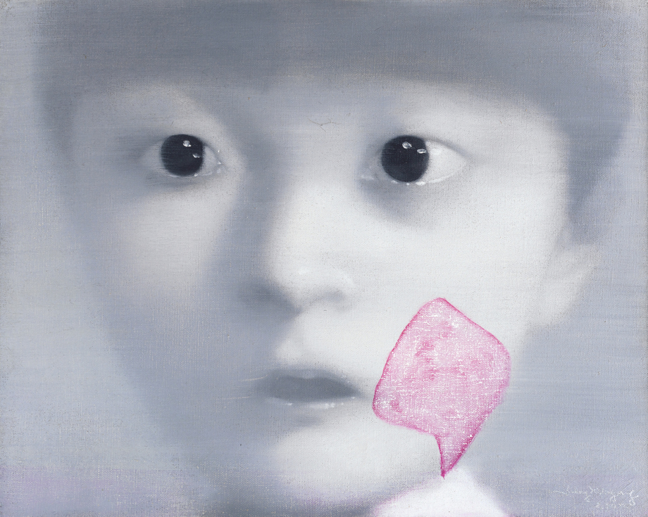 Zhang Xiaogang, Moje dcera č. 1, 2000, olej na plátně, 40×50 cm