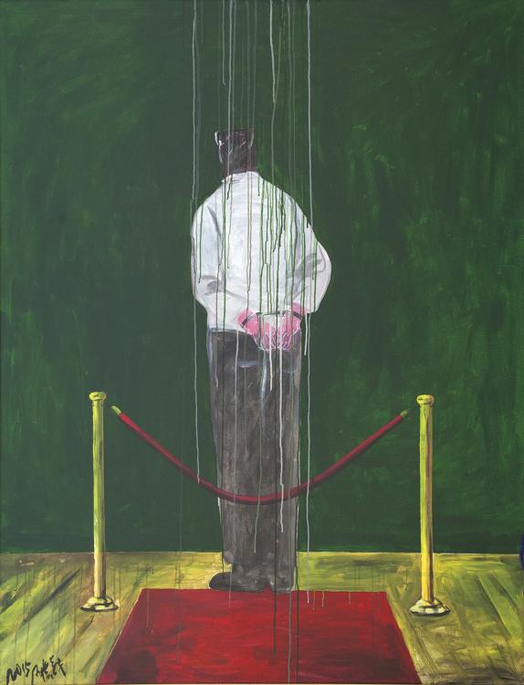 Wang Guangyi, Rituál No. 2, 2015, olej a akryl na plátně, 180×140 cm
