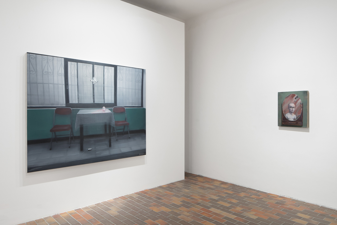 view to the exhibition The Reunion of Poetry and Philosophy / Zhang Xiaogang & Wang Guangyi, Stone Bell House, 2018. Photo by Tomáš Souček