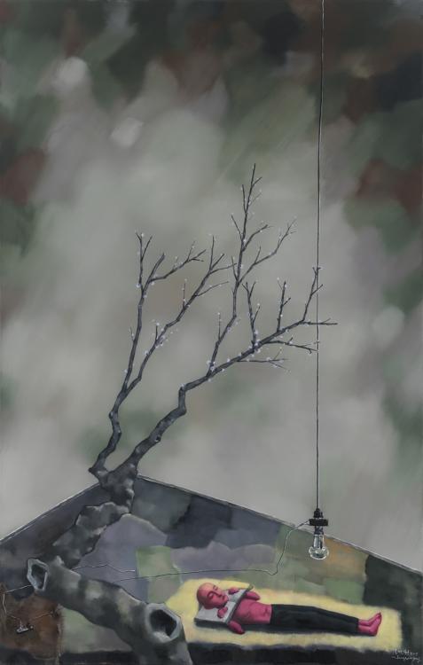 Zhang Xiaogang, V zajetí knih – červené květy slivoně, 2015, olej na plátně, 220×140 cm
