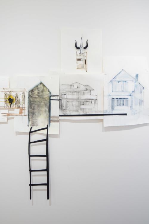 view to the exhibition Markéta Hlinovská: Fur in the City, Colloredo-Mansfeld Palace, 2018. Foto Tomáš Souček