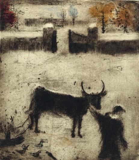 Bohuslav Reynek, Dvůr v zimě II., 1955, suchá jehla s monotypem