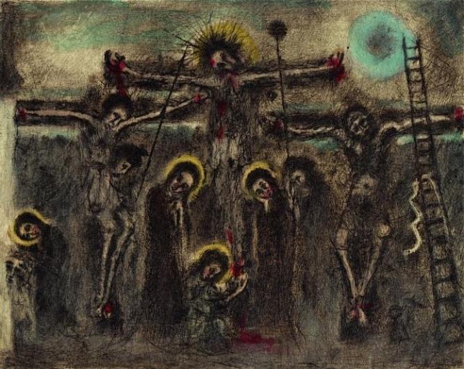 Bohuslav Reynek, Velké ukřižování, 1948, suchá jehla (s monotypem)