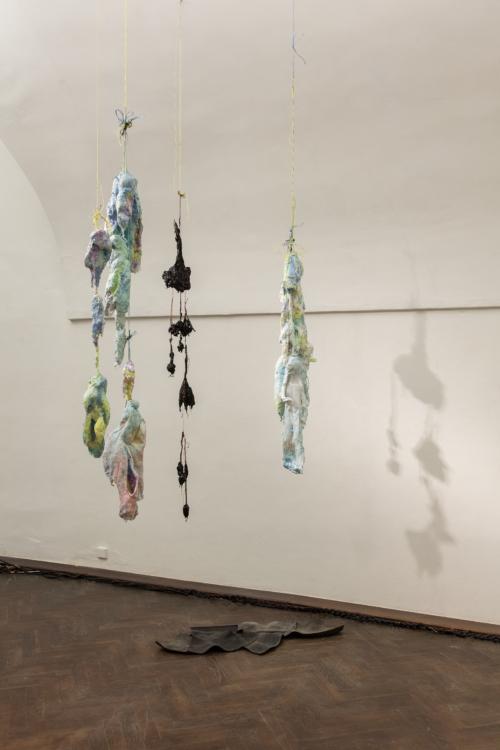 pohled do instalace výstavy Start up: Anna Ročňová – Luxurious Moments, Colloredo-Mansfeldský palác, kočárovna, 2018. Foto Jana Pošová