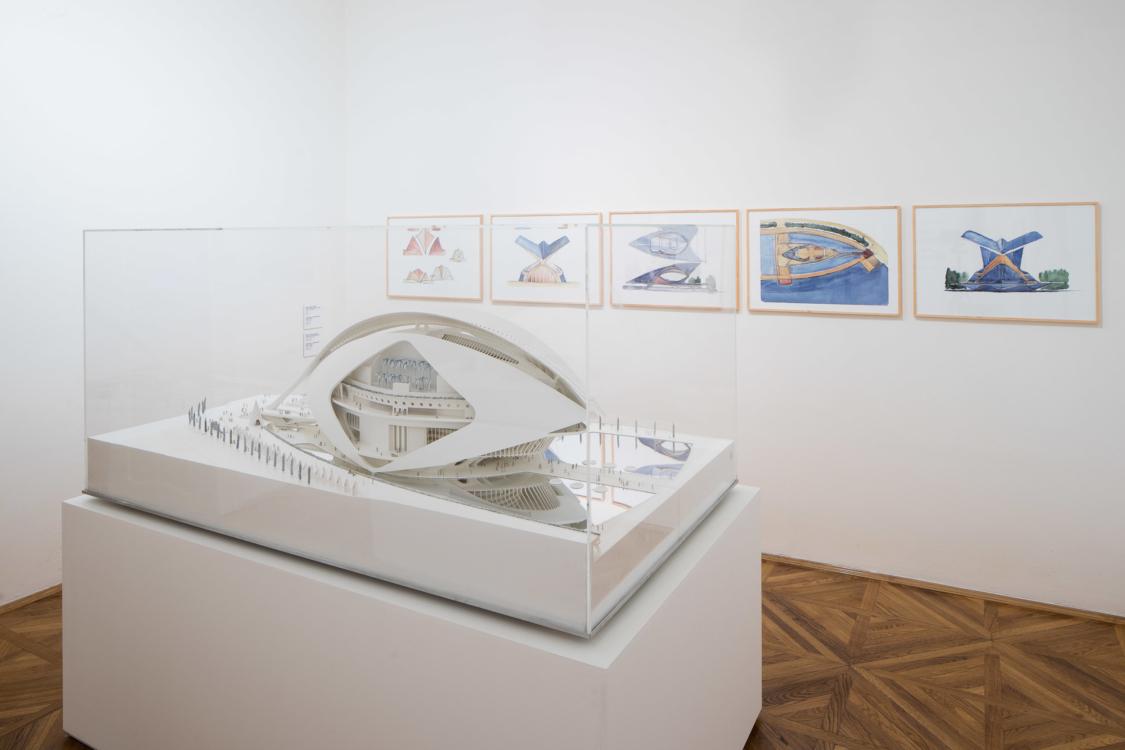 view to the exhibition Santiago Calatrava: Art and Architecture, Stone Bell House, 2018. Photo by Tomáš Souček