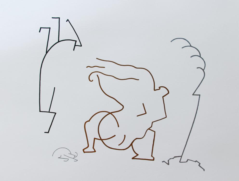 Sráč Sam, Bez názvu, 2016, fix na papíře, 42×59,4 cm
