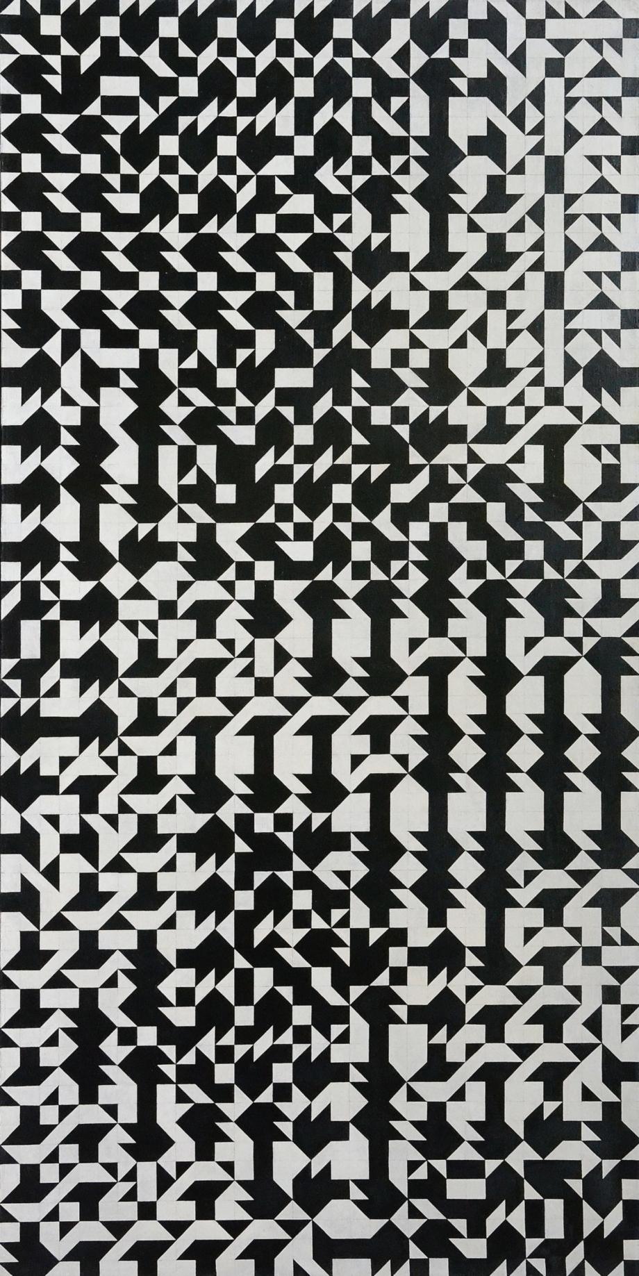Zdeněk Sýkora, Black and White Structure, 1966–1967, oil on canvas, 220×110 cm, Prague City Gallery, acquisition 1968. Restoration Tomáš Lahoda, 2016