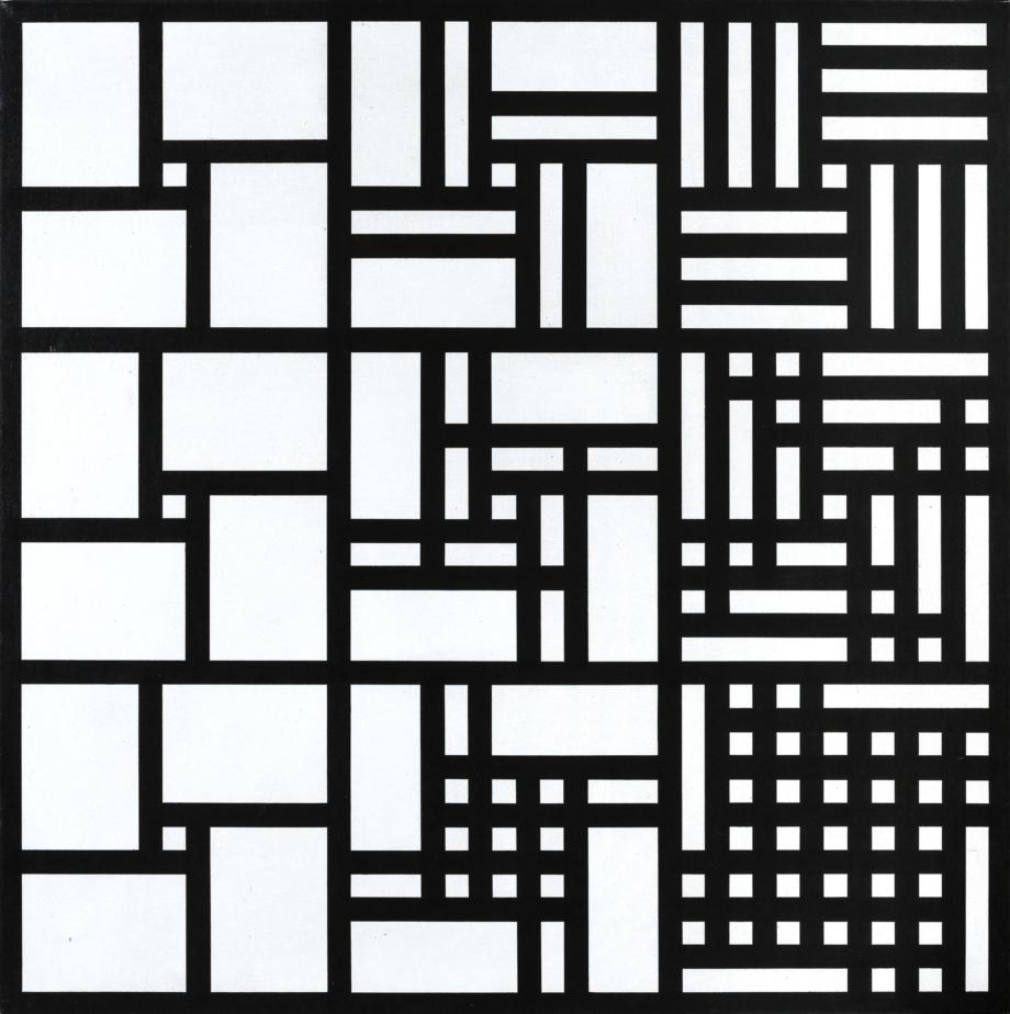 Jan Kubíček, 3 systémy adiace v horizontálních řadách, 1970-78, 90,5×90,5 cm, akryl