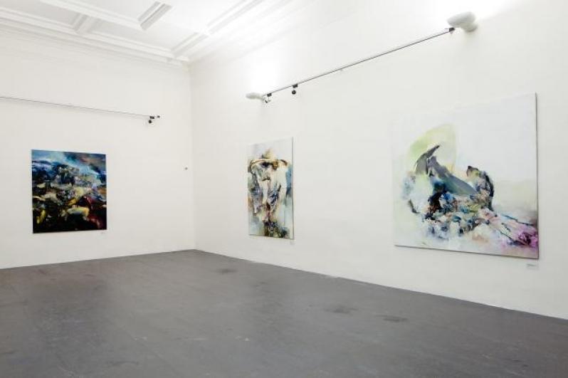 Pohled do expozice Pavla Vašíčka, zleva: Krajina Pomalost, Krajina, Krajina bez místa, 2012, foto Tomáš Souček