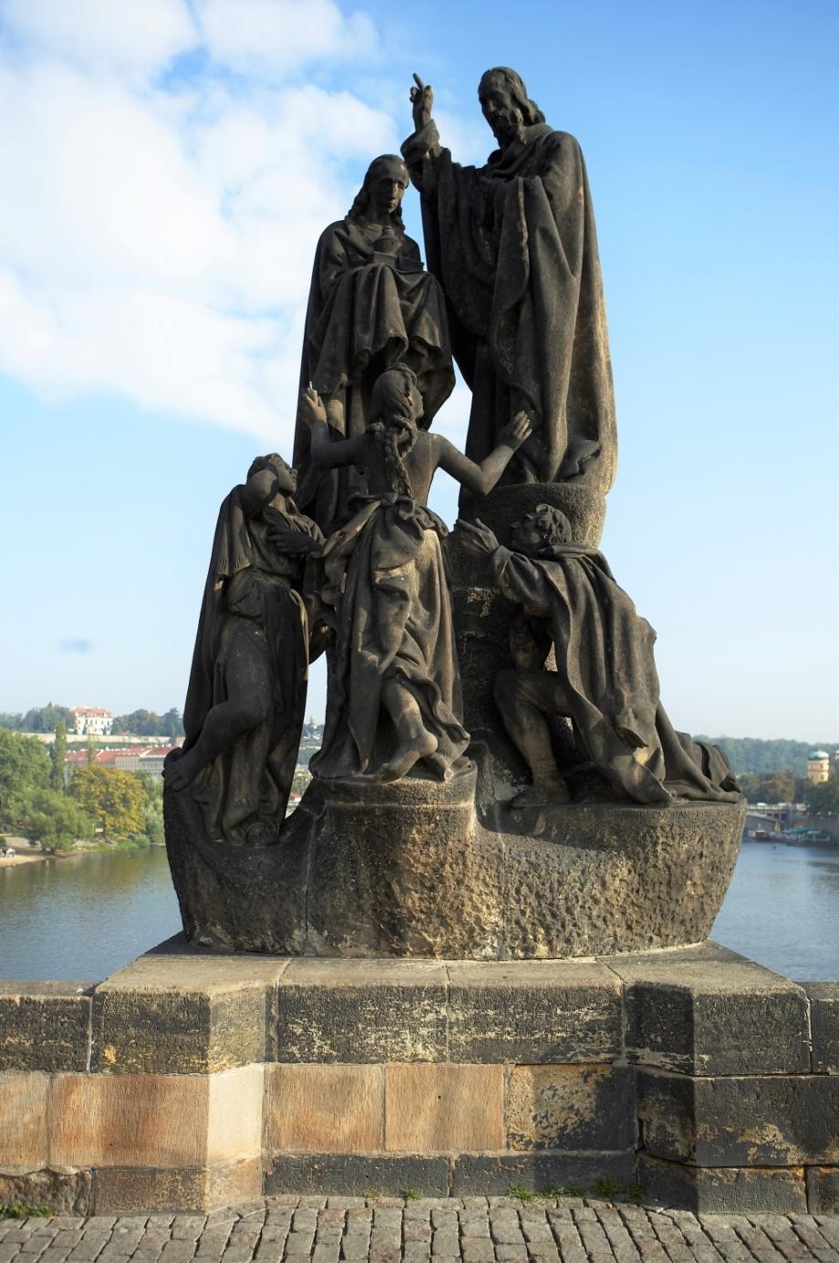 sculptural group of Cyril and Methodius – before restoration, Charles Bridge