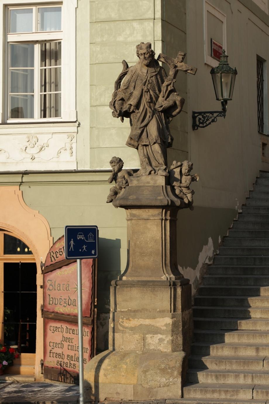 Statue of St. John of Nepomuk – before restoration, Radniční schody, Prague 1