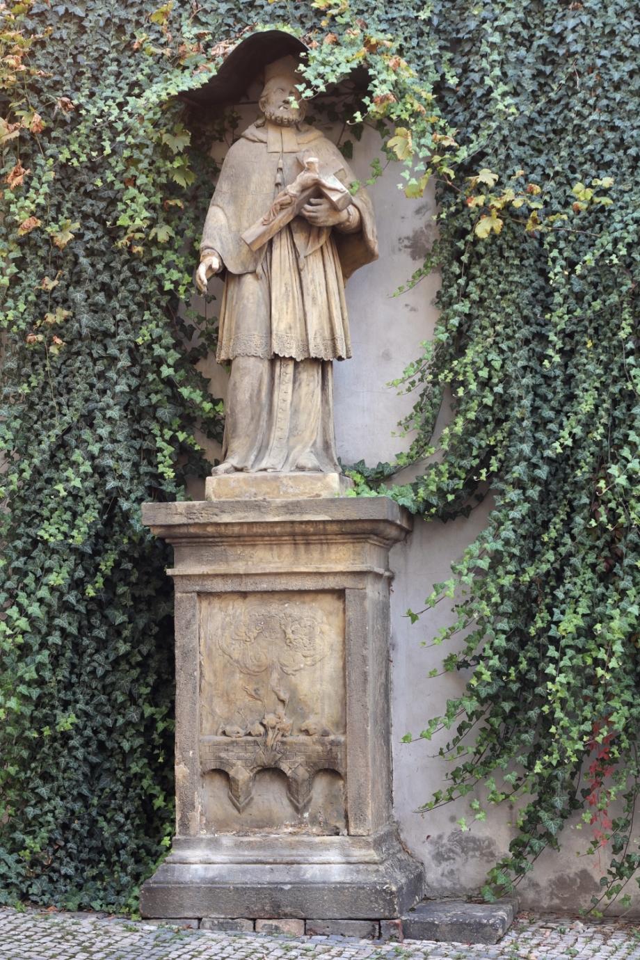 Statue of St. John of Nepomuk – before restoration, Šporkova, Prague 1