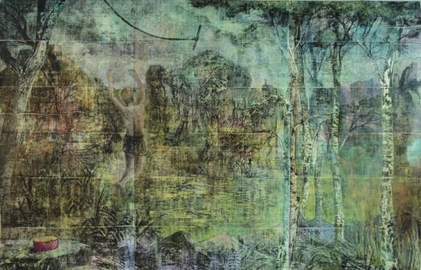 Jan Vičar, Houpačka, 2014, dřevořez, 250×250 cm