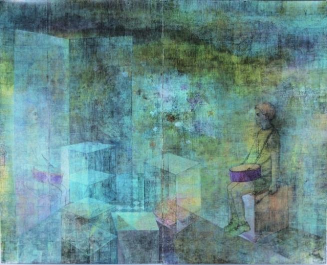 Jan Vičar, Bubeník, 2013, linoryt, 200×250 cm