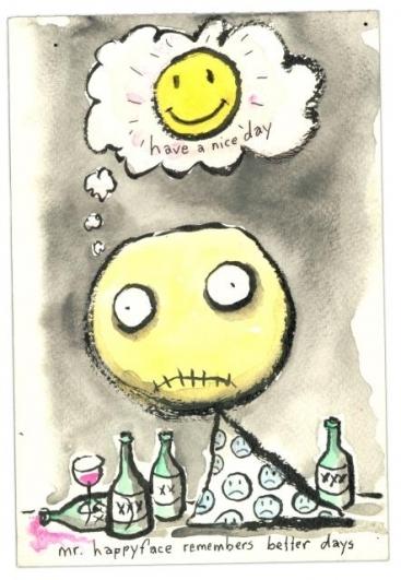 Mr. Happyface, 2008, akvarel na papíře, 20,3×13,3 cm, soukromá sbírka. © 2014 Tim Burton