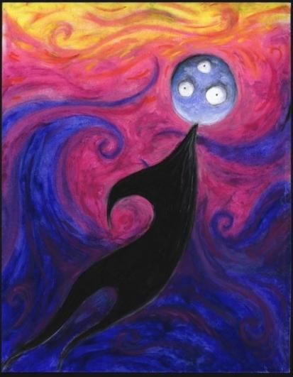 Bez názvu (Creature Series), 1997–1998, pastel na papíře, 35,6×27,9 cm, soukromá sbírka. © 2014 Tim Burton