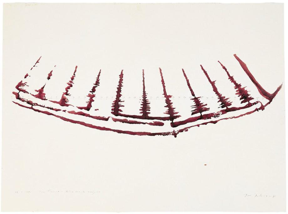 Jan Jedlička, Fosso Tanaro, 22. 9. 1995, tužka a akvarel na papíře, 57×76 cm
