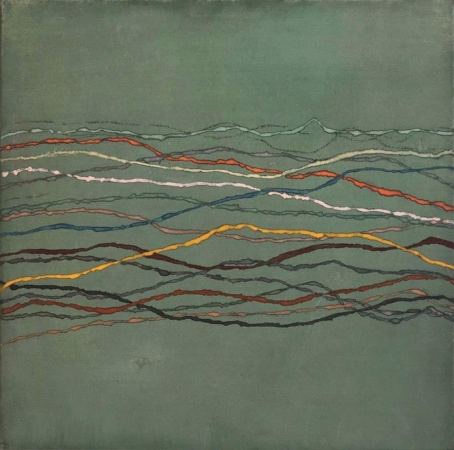 Jan Jedlička, Maremma, Orizzonti, grün, 2017, pigmenty na japanu a plátně, 43×43 cm