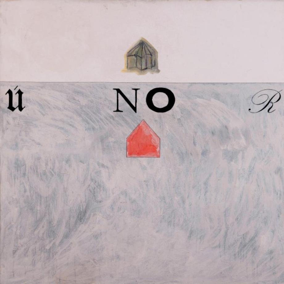 Jiří Kovanda, Poezie a politika, 1988, kresba na plátně, 120×120 cm