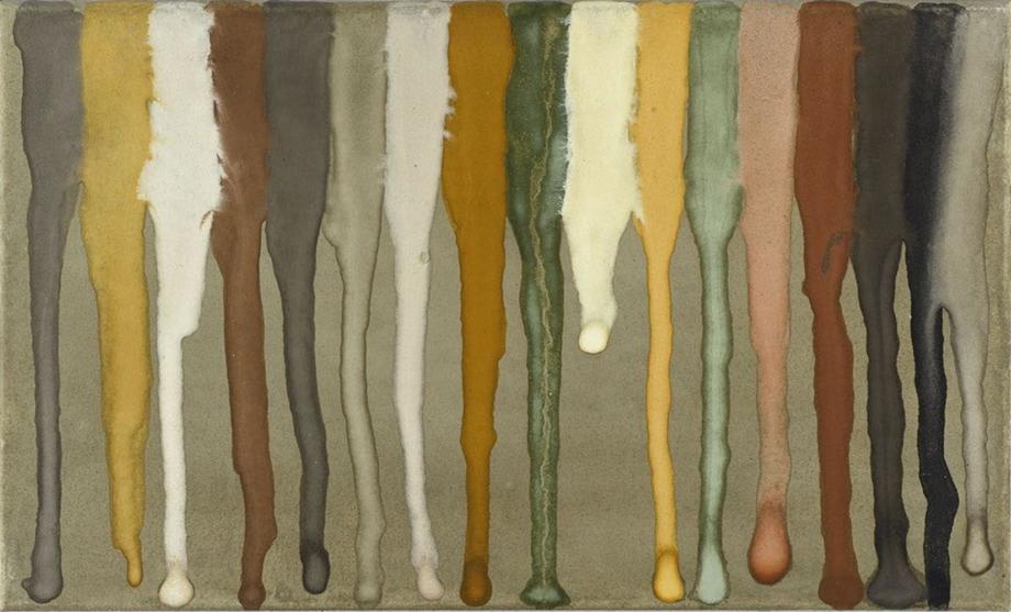 Jan Jedlička, Praha II, 1993, pigmenty na japanu a plátně, 20×33 cm