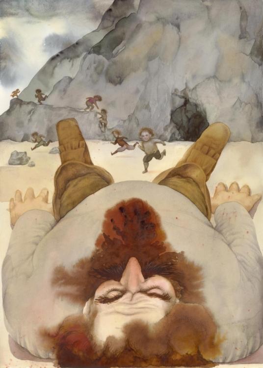 František Skála, Paleček – spící obr (Charles Perrault: Pohádky matky husy), 1989, akvarel, pastelky, 260×190 mm