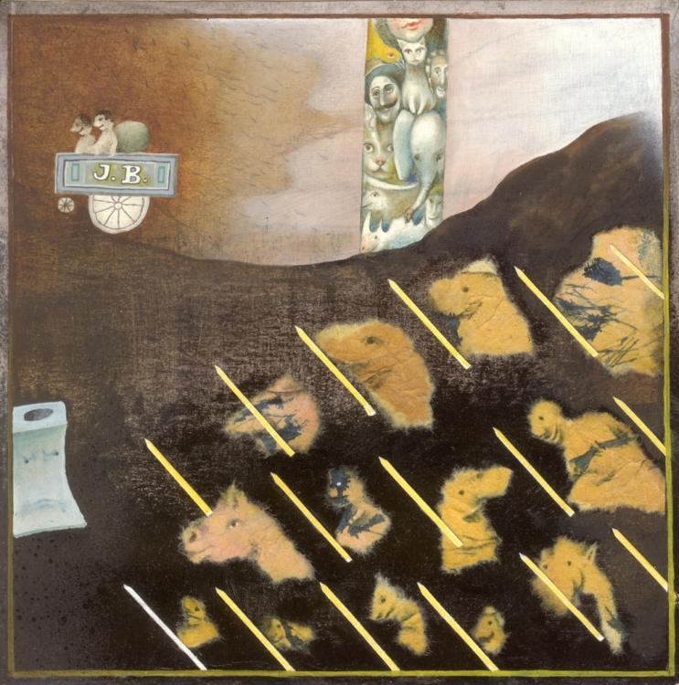 František Skála, Kůžičky na pera (Carl Sandburg: Pohádky z bramborových řádků), 1988, kombinovaná technika, 160×155 mm