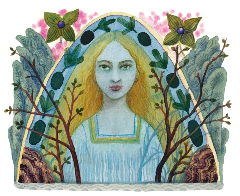 František Skála, Dívka v keři (Karel Šiktanc: Hrad Svícen), 2009, akvarel, 100×120 mm