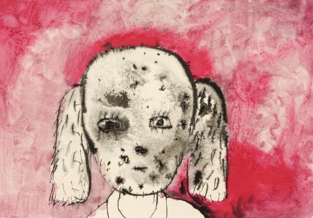 Josef Bolf, Obličeje, 2000–2003, akvarel a tuš na papíře, 29×42 cm