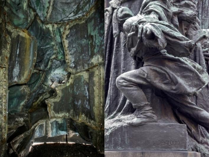 Postava bojovník – pohled do vnitřní části figury s napřažnou paží a stejná partie z vnějšího pohledu