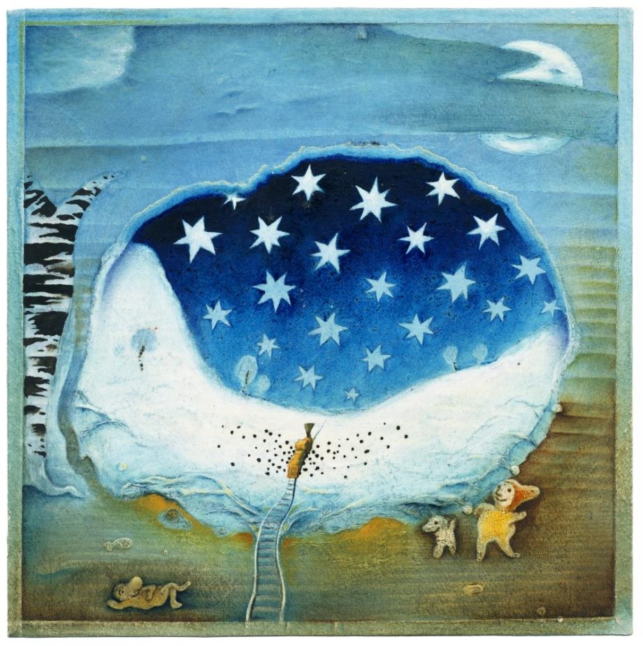 František Skála, Modré hvězdy (Carl Sandburg: Pohádky z bramborových řádků), 1988, kombinovaná technika, 160×155 mm