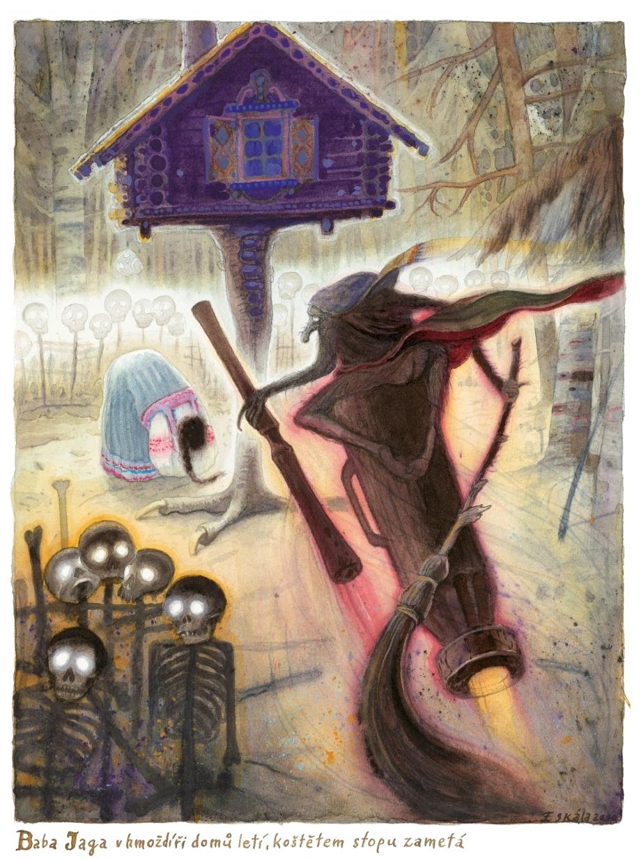 František Skála, Baba Jaga v hmoždíři... (Alena Ježková: Baba Jaga kostlivá noha), 2011, akvarel, pastelka, 275×208 mm