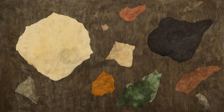 Jan Jedlička, Velká Praha, 2012, pigmenty na japanu a plátně, 180×360 cm