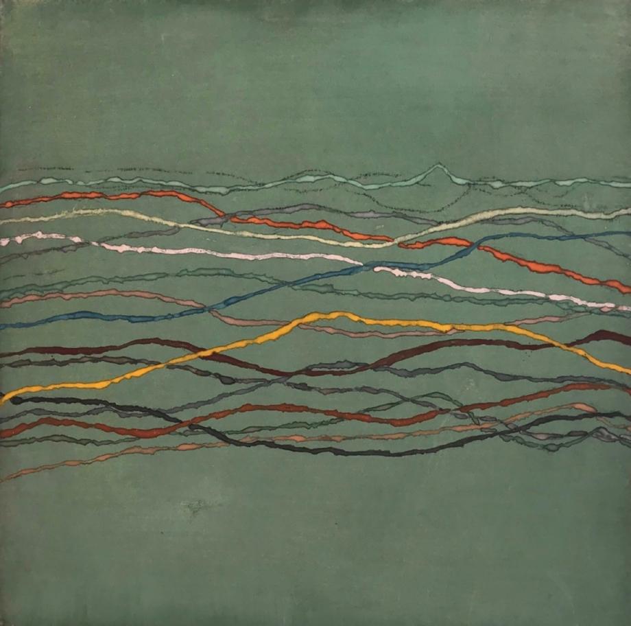 Jan Jedlička, Maremma, orizonti verde, 2017, pigmenty na japanu a plátně, 43×43 cm