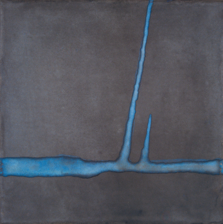 Jan Jedlička, Maremma, grigio-blu I, 2004, pigmenty na japanu a plátně, 20×20 cm