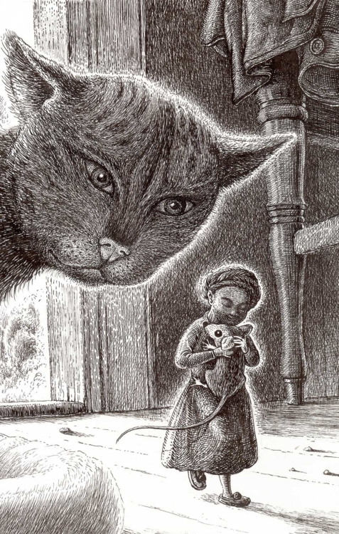 František Skála, Kočka a holička – Pidilidi, 2013, kresba perem, 27×18 cm