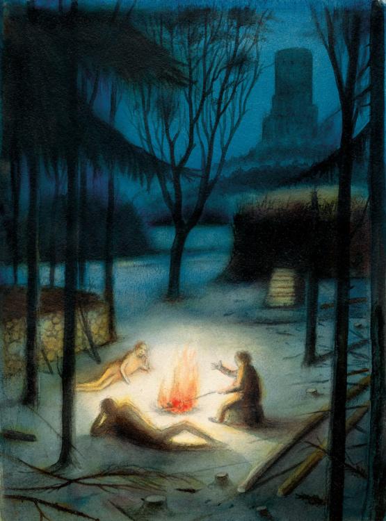 František Skála, Tři u ohně – Hrad Svícen, 2009, akvarel, olej, 255×195 mm