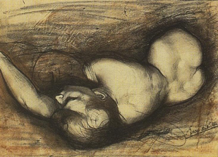 Jean Delville, Studie k Cyklu vášně, cca 1890, kresba, soukromá sbírka