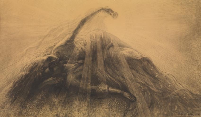 Jean Delville, Tristan a Isolda, 1887, tužka, černý pastel a uhel na papíře, Musées royaux des Beaux-Arts de Belgique, Brusel
