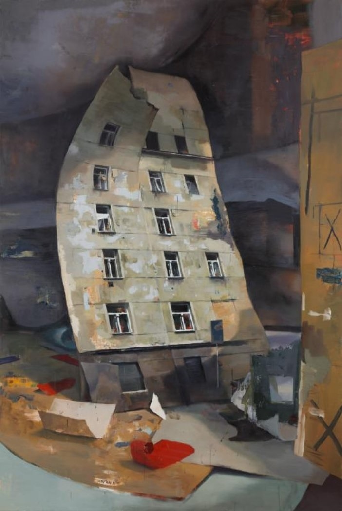 Daniel Pitín, Léto ve městě, 2019, akryl a olej na plátně, 290×135cm