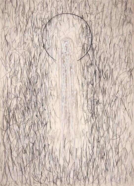 Karel Malich, Proudící energie ve slyšitelném prostoru, 1984, pastel na papíře, 100,2×73,5 cm