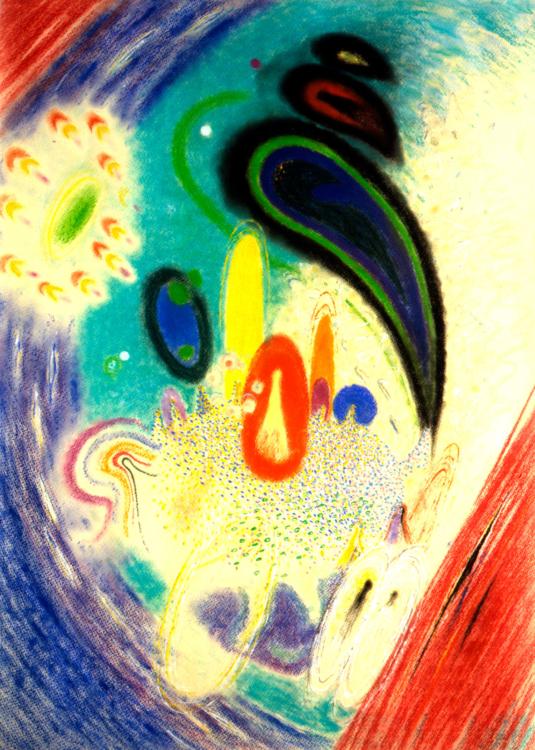 Karel Malich, Za stolem, 1983–1984, pastel na papíře, 100,3×73,5 cm
