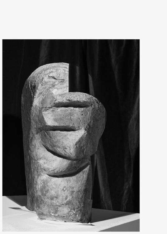 Jiří Thýn, prostorová morfologie No. A_B0A6822 (zdroj: H. Wichterlová, Portrét Vincence Makovského, 1928), 2021, černobílá fotografie, 100×140 cm